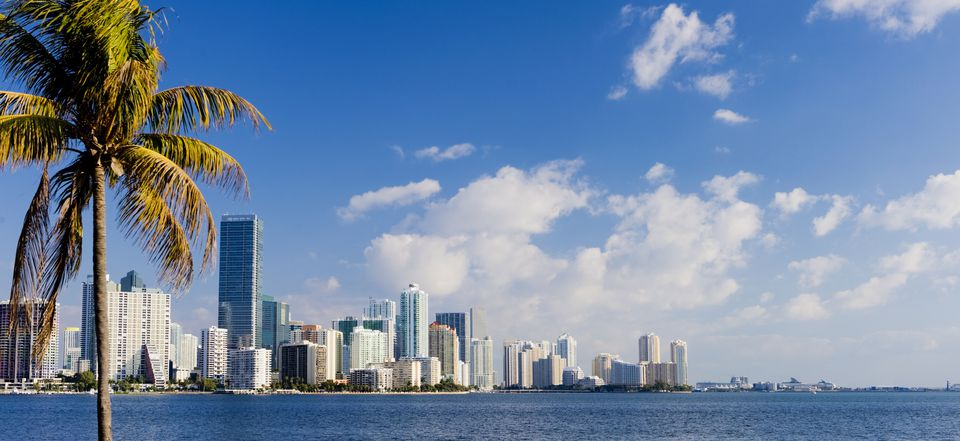 Panoramic view of the Brickell and downtown Miami city skyline