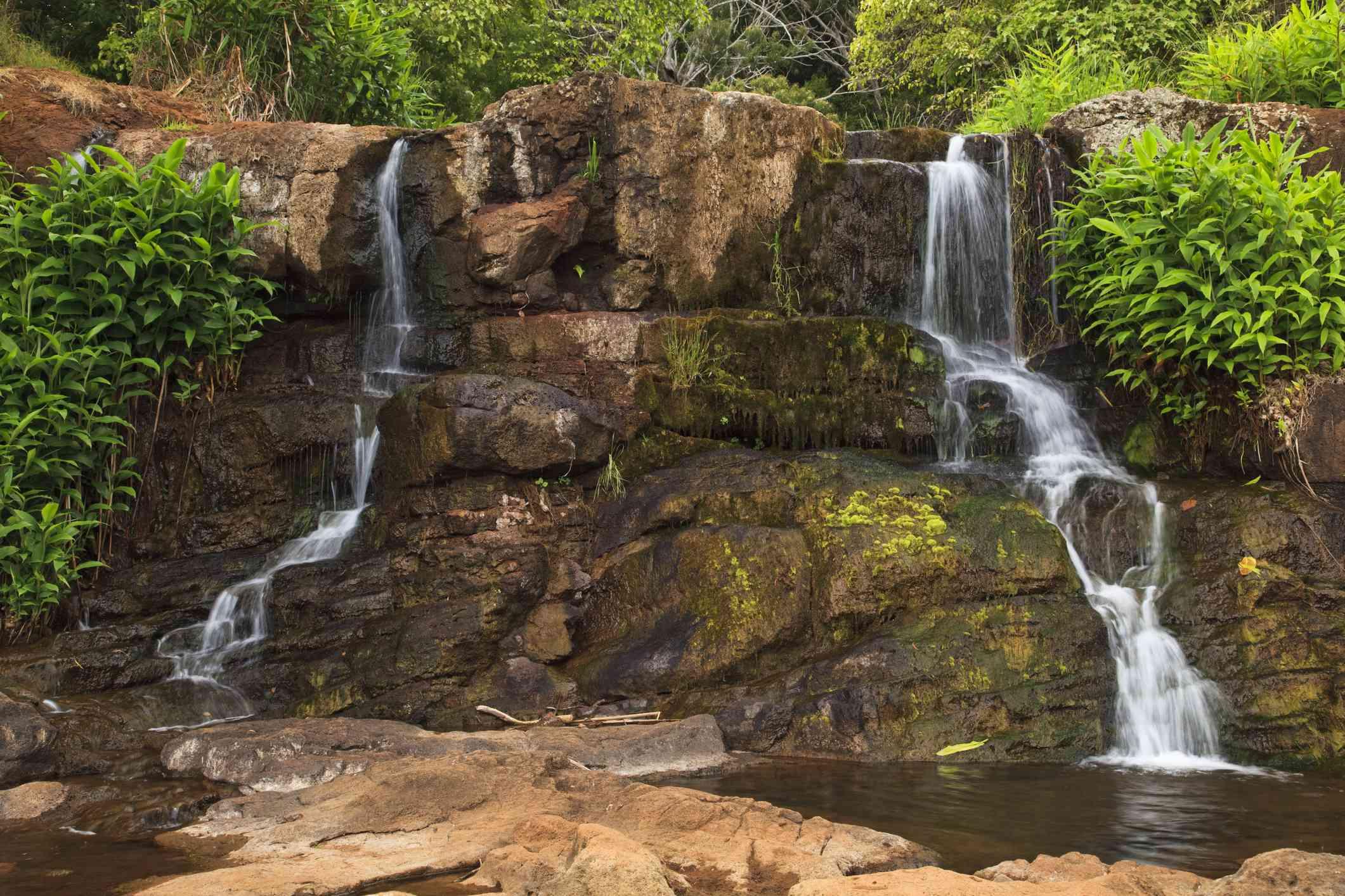 Top of Waipoo Falls, seen from the Canyon Trail in Koke'e State Park Kauai, Hawaii