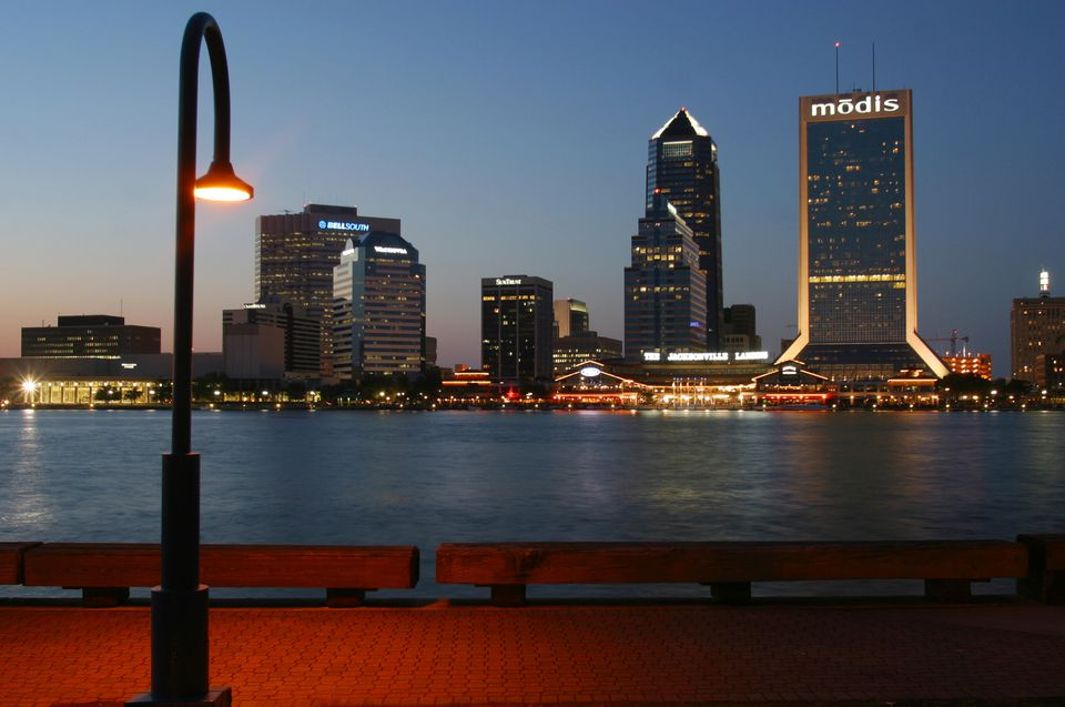 Downtown Jacksonville's Southbank skyline at dusk