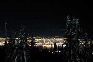 view of Vancouver cityscape at night