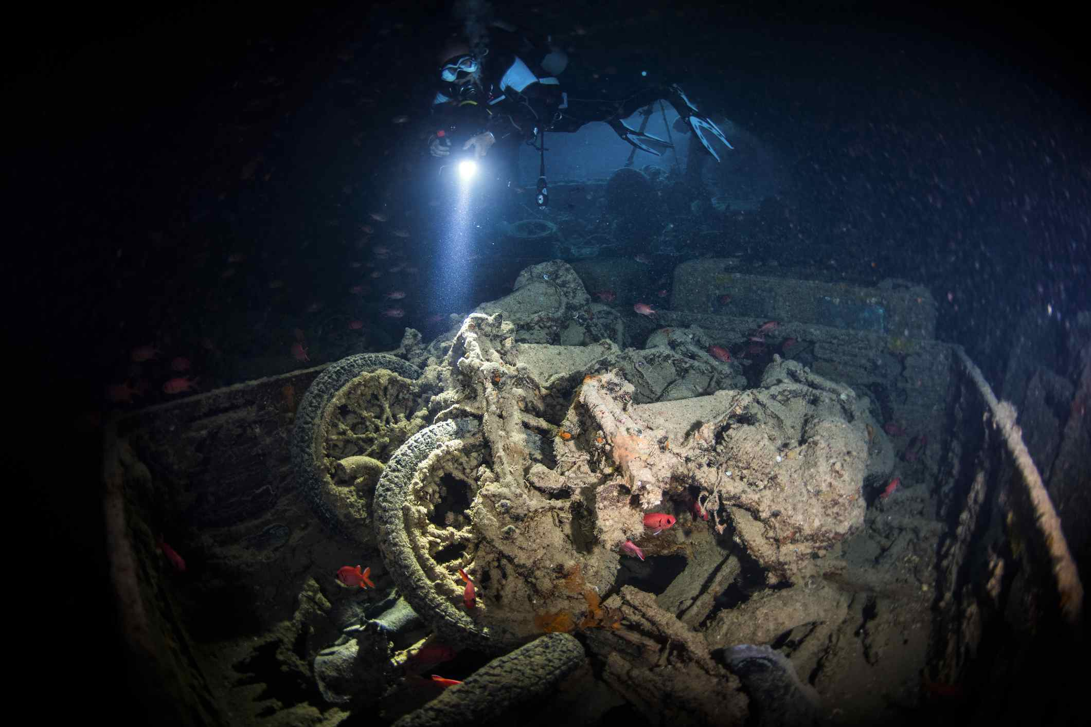 Motorbikes on the wreck of the S.S. Thistlegorm, Egypt