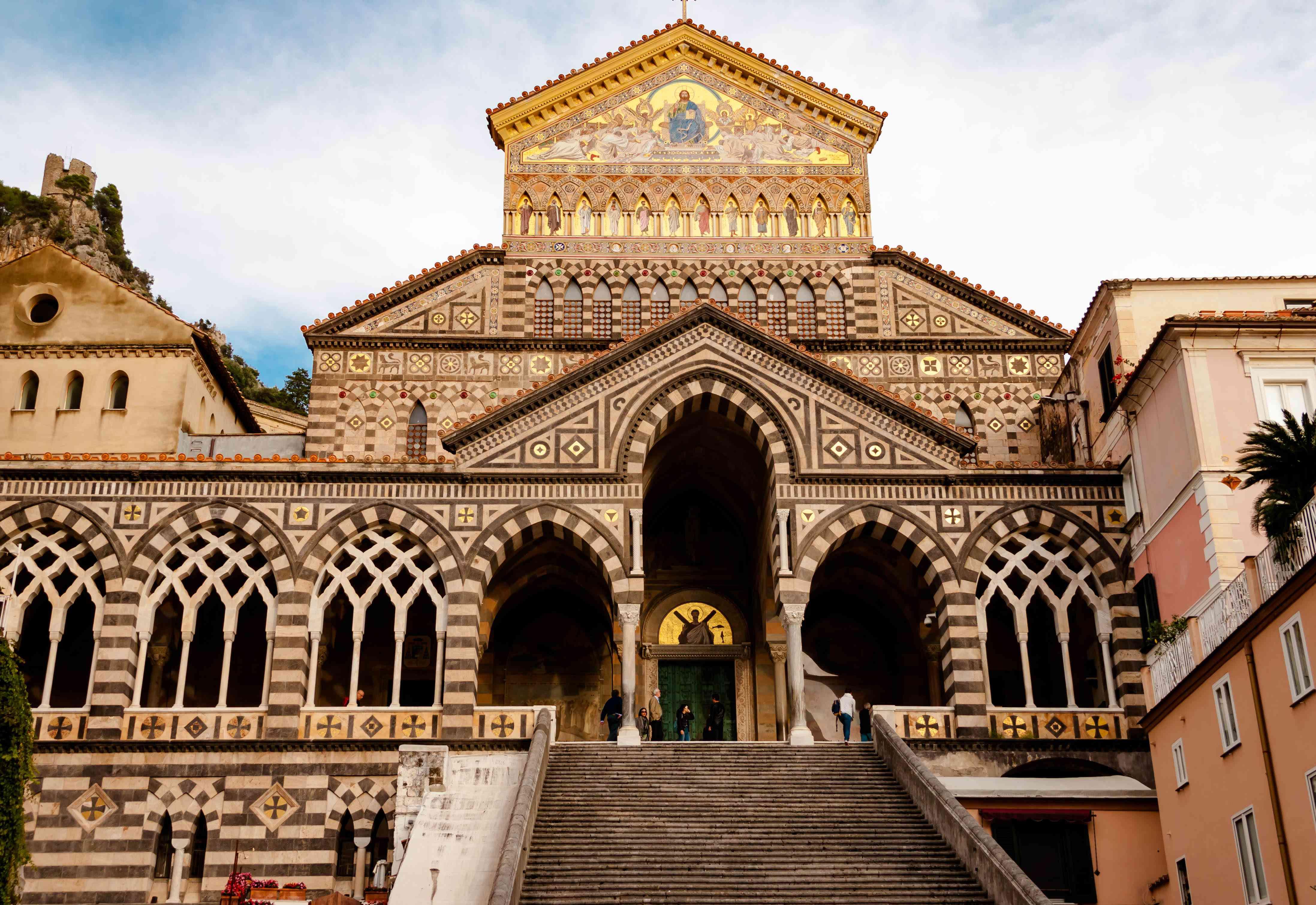 AMALFI, ITALY NOVEMBER 7 2019: Italian Amalfi Cathedral duomo di Sant'andrea Church of St. Andrew