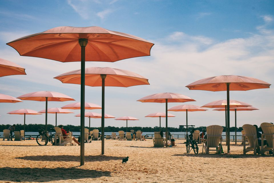 Pink Umbrellas of Sugar Beach in Toronto