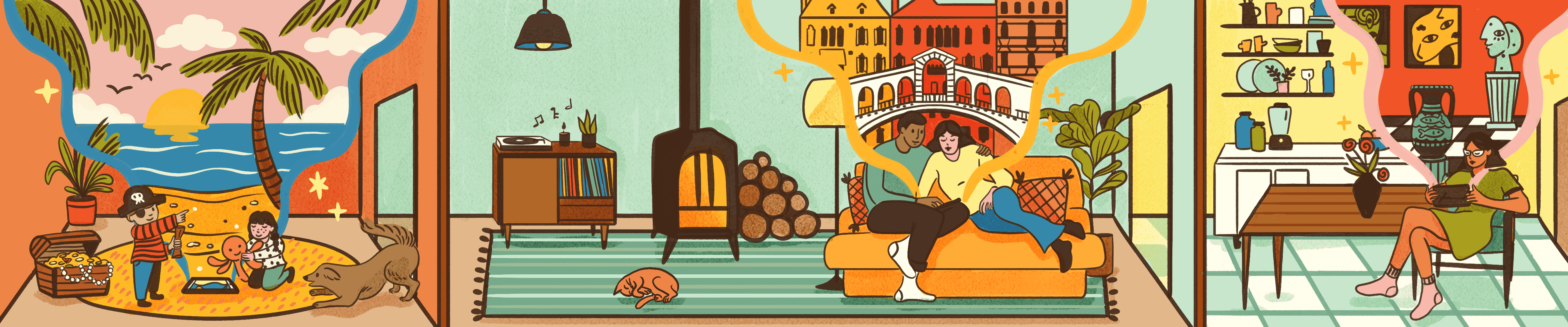 Illustration of people in their homes looking at virtual tourist attractions
