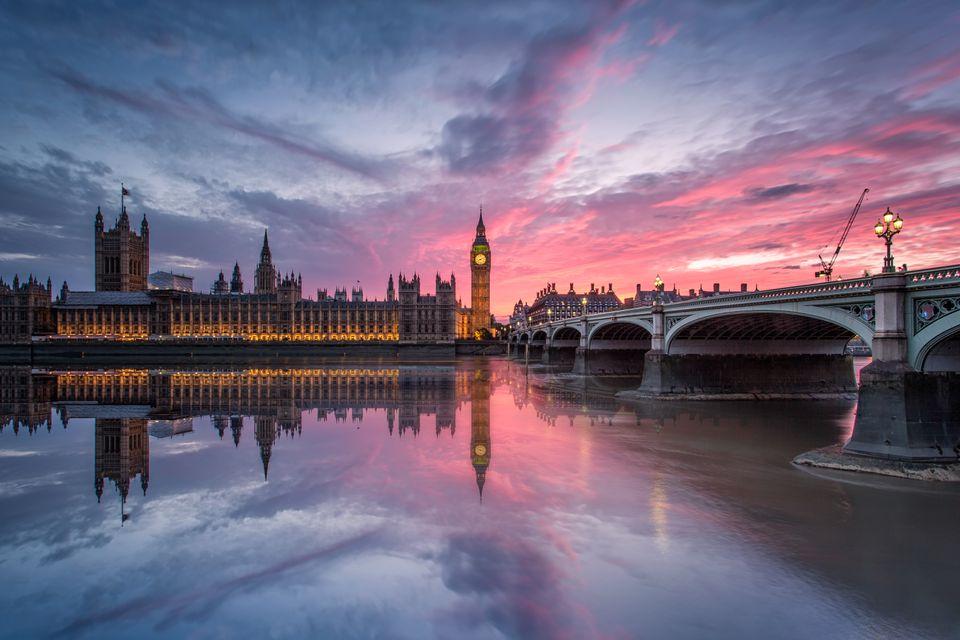 Big Ben and houses of parliament at sunset, Big Ben, London, England, UK