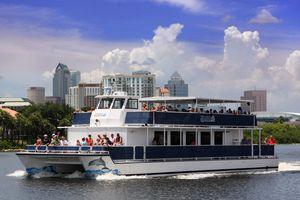 The Florida Aquarium's Dolphin Cruise sailing past Downtown Tampa