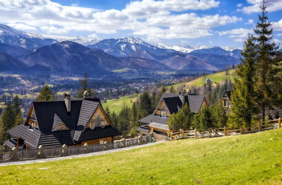Vacations in Poland - springtime in Zakopane - Koscielisko, small tourist resort in Tatra Mountains