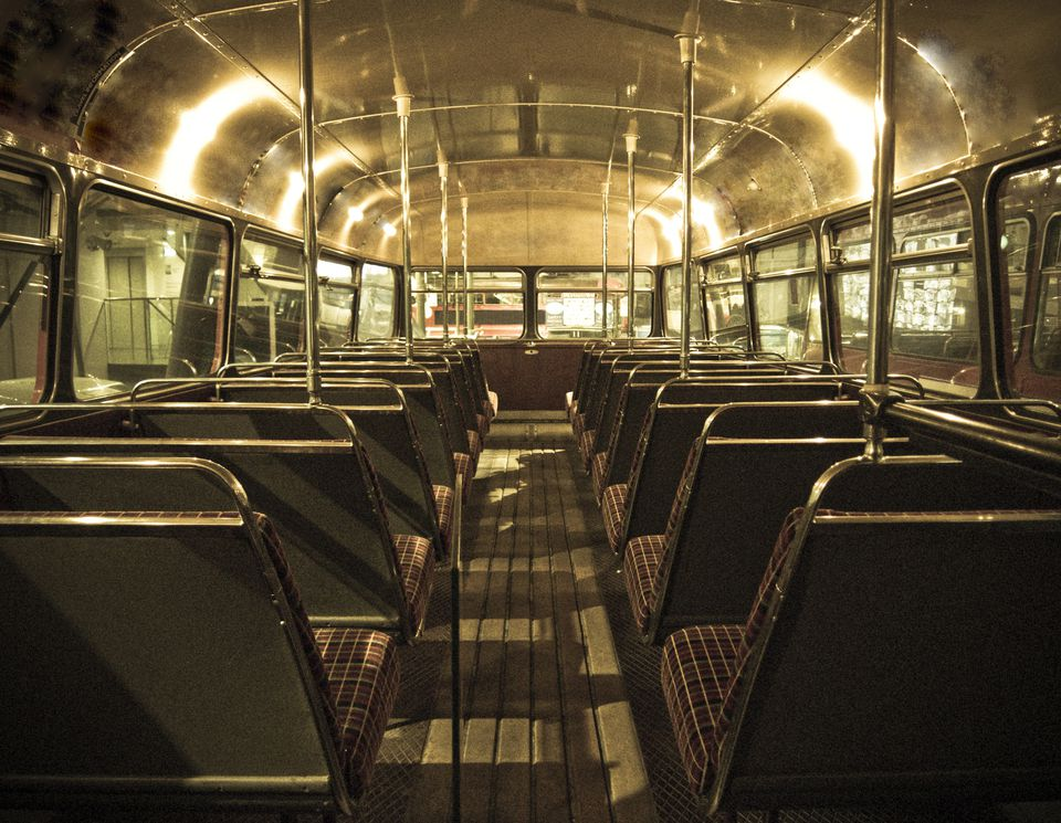 Interior of a Greyhound bus