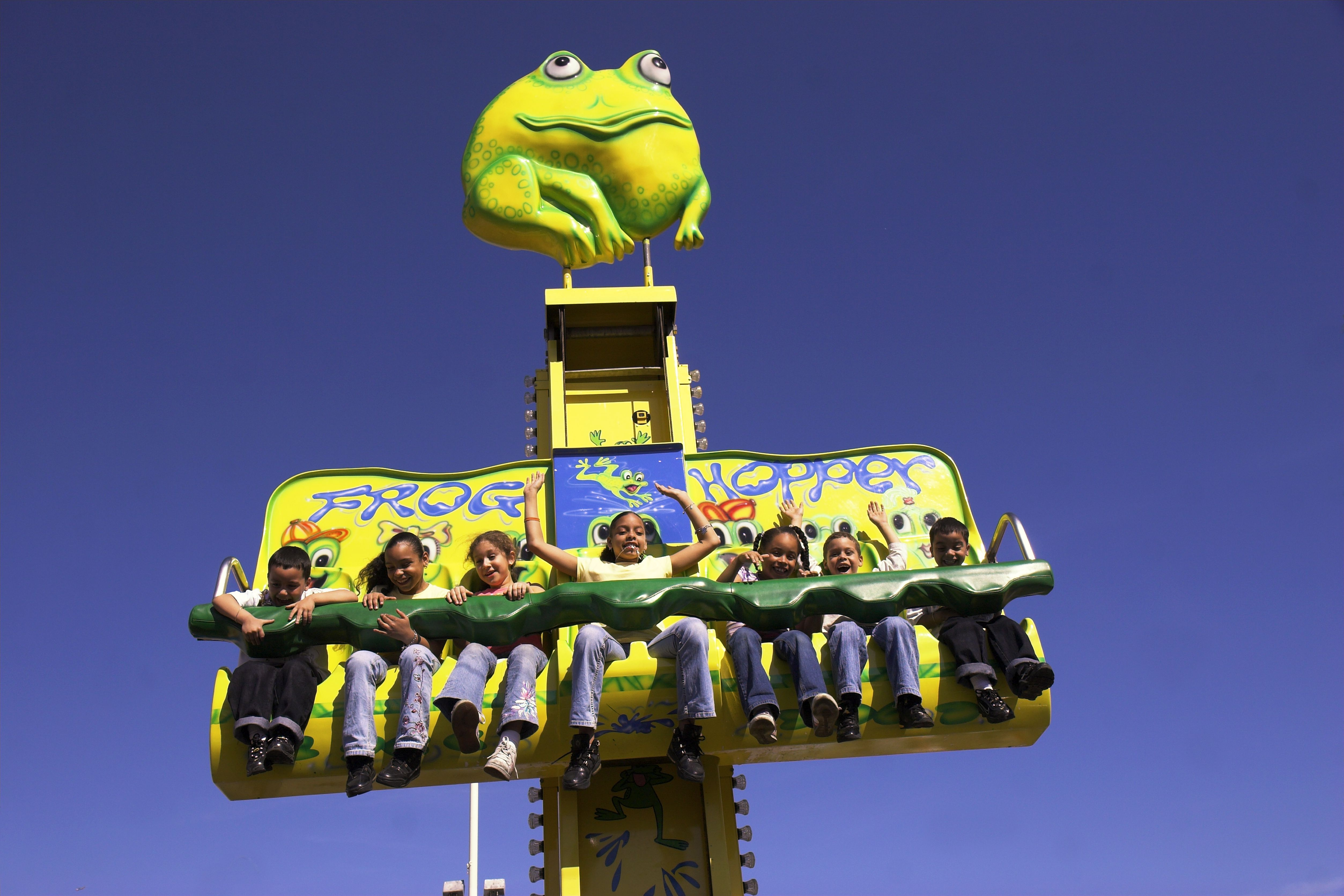 Children on Frog Hopper ride.