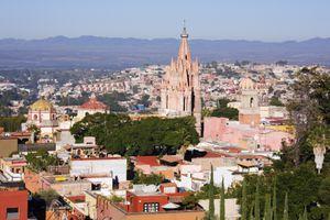 Aerial view of church in San Miguel de Allende cityscape, Guanajuato, Mexico
