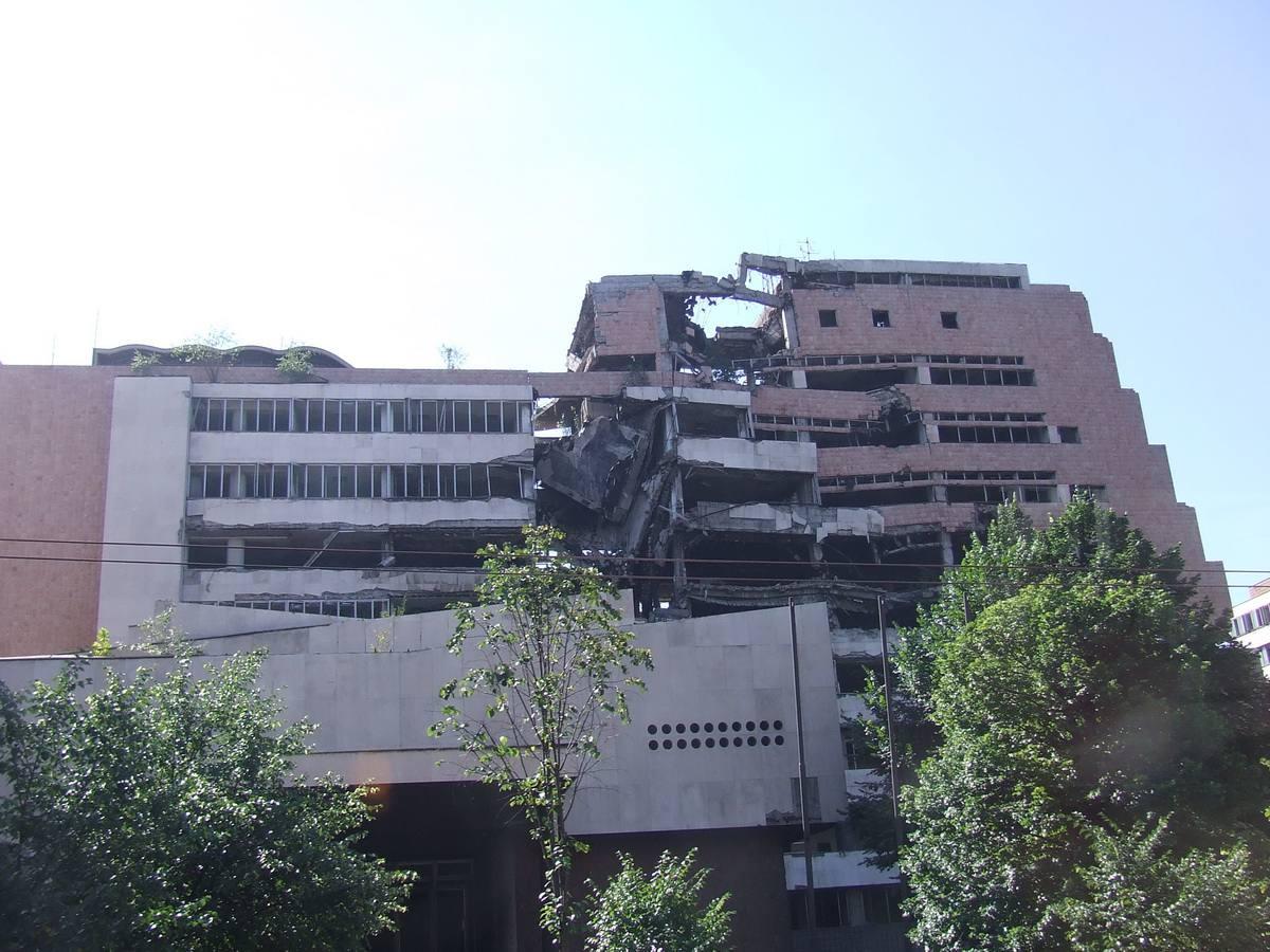 War-damaged Building in Belgrade, Serbia