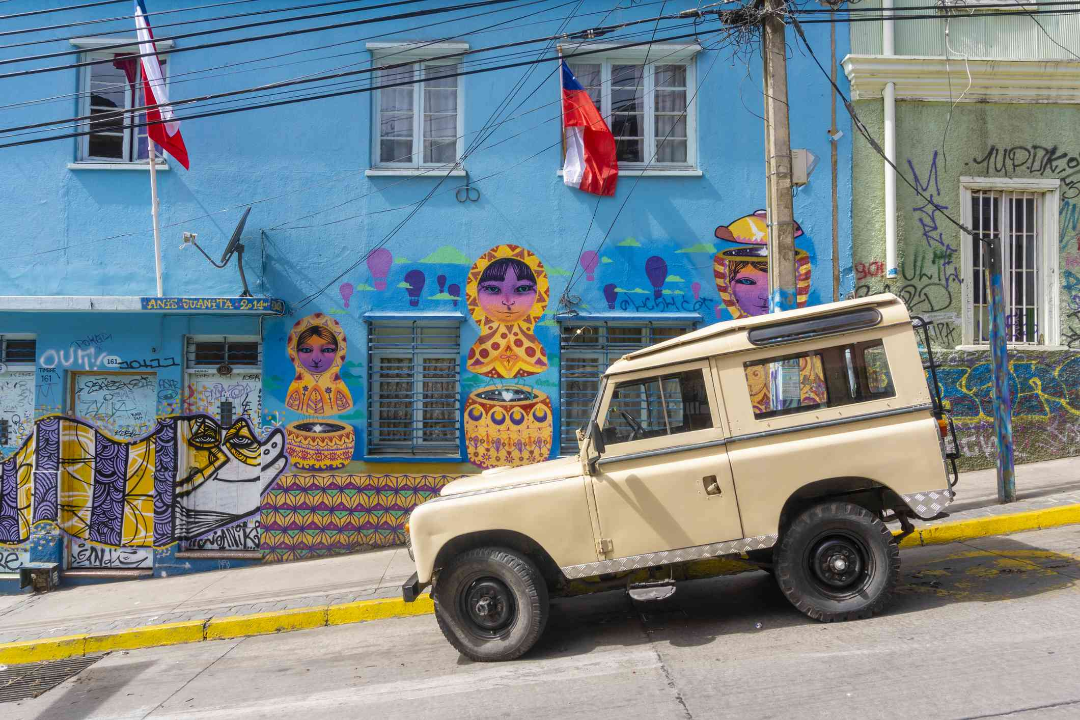 Valparaiso, Chile - Sep 19, 2018: Street arts, graffiti along a street in Valparaiso, Chile. The historic quarter of the city was declared as a UNESCO World Heritage site.