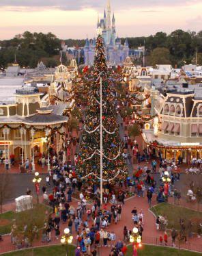 Giant Christmas Tree, Main Street USA, Magic Kingdom. Photo courtesy of Walt Disney World.