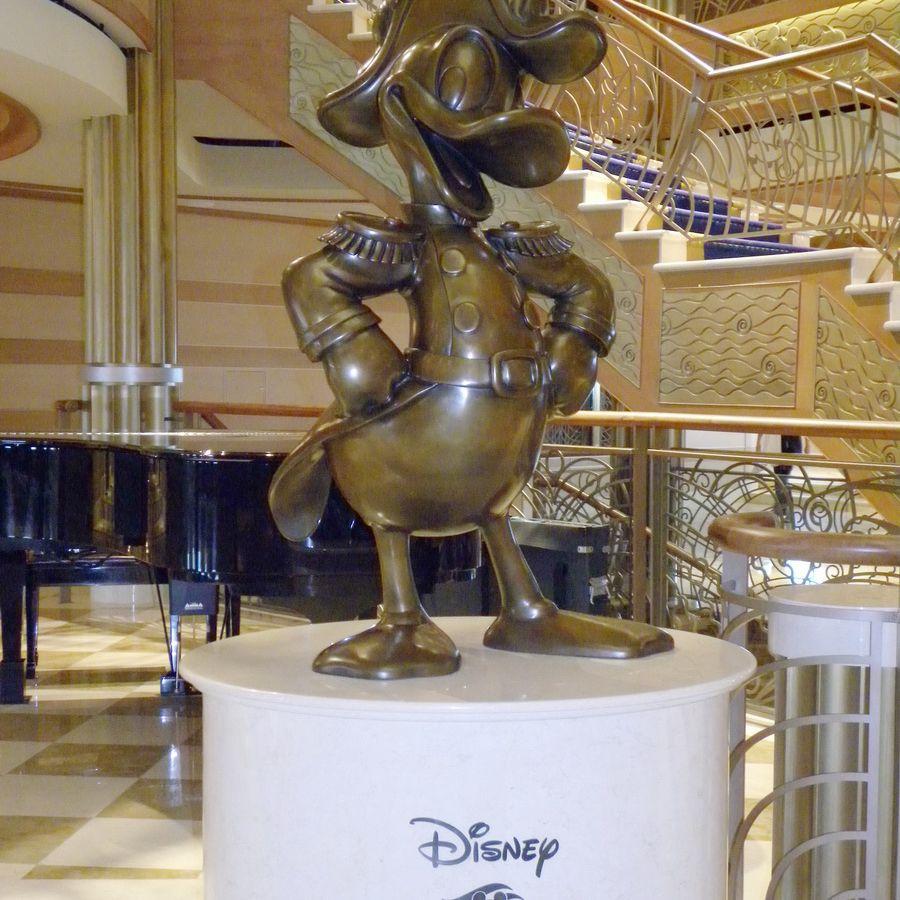 Disney Dream - Donald Duck Statue in Atrium Lobby
