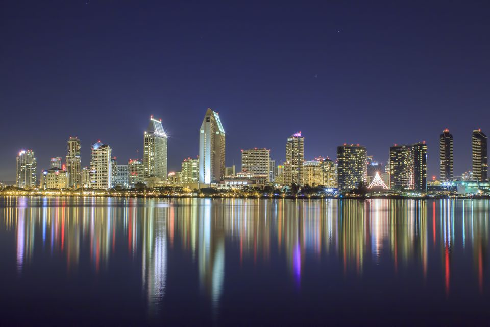 San Diego skyscrapers towering over the San Diego Bay.