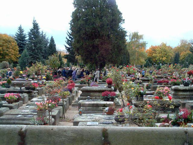 Flowers on headstones at St. John's Cemetery in Nuremberg, Germany