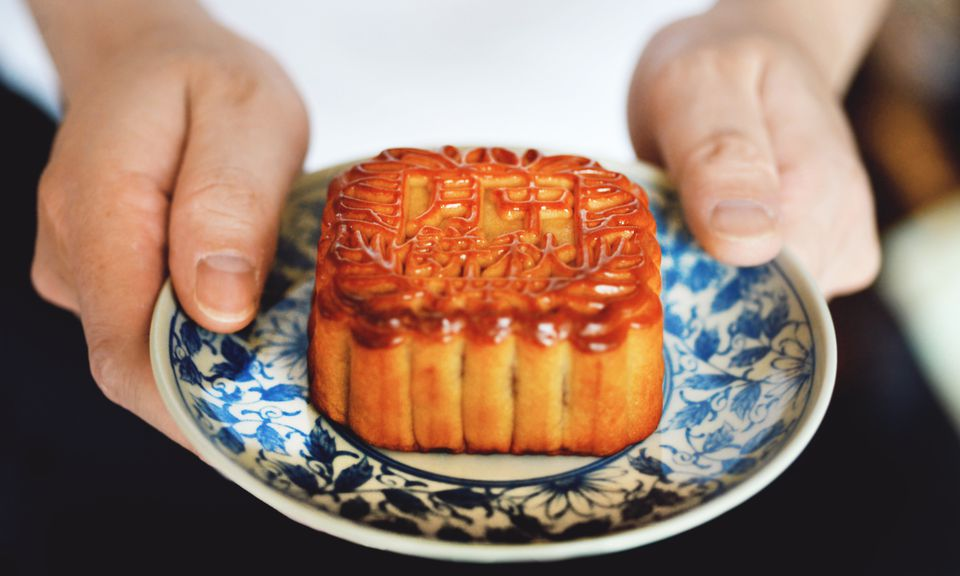 A mooncake for the Chinese Moon Festival