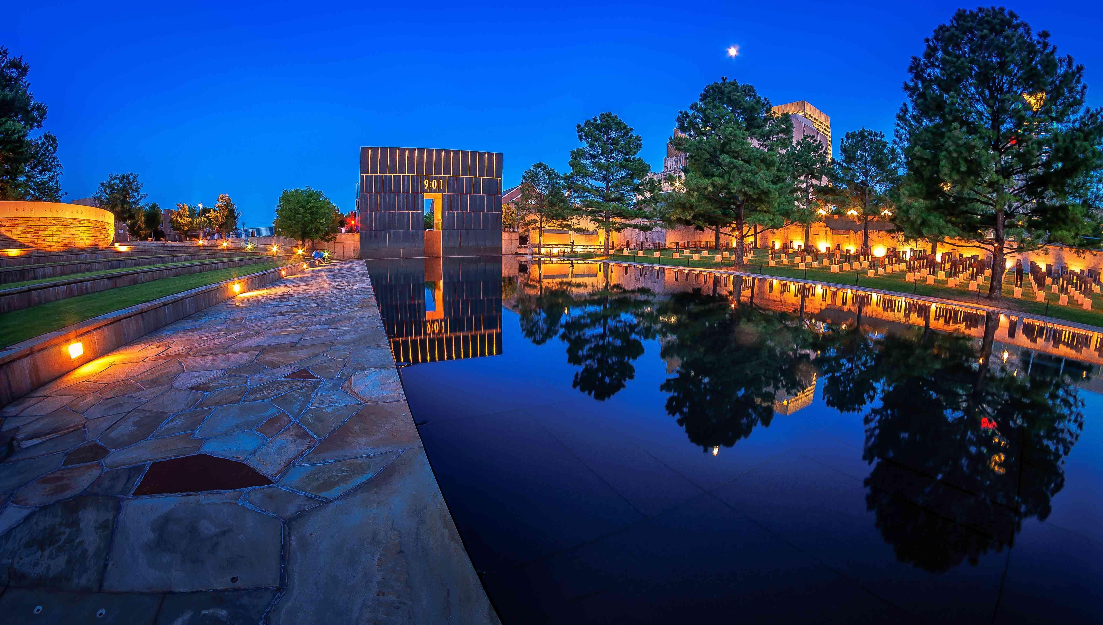 Reflecting pool of the Oklahoma City National Memorial at night