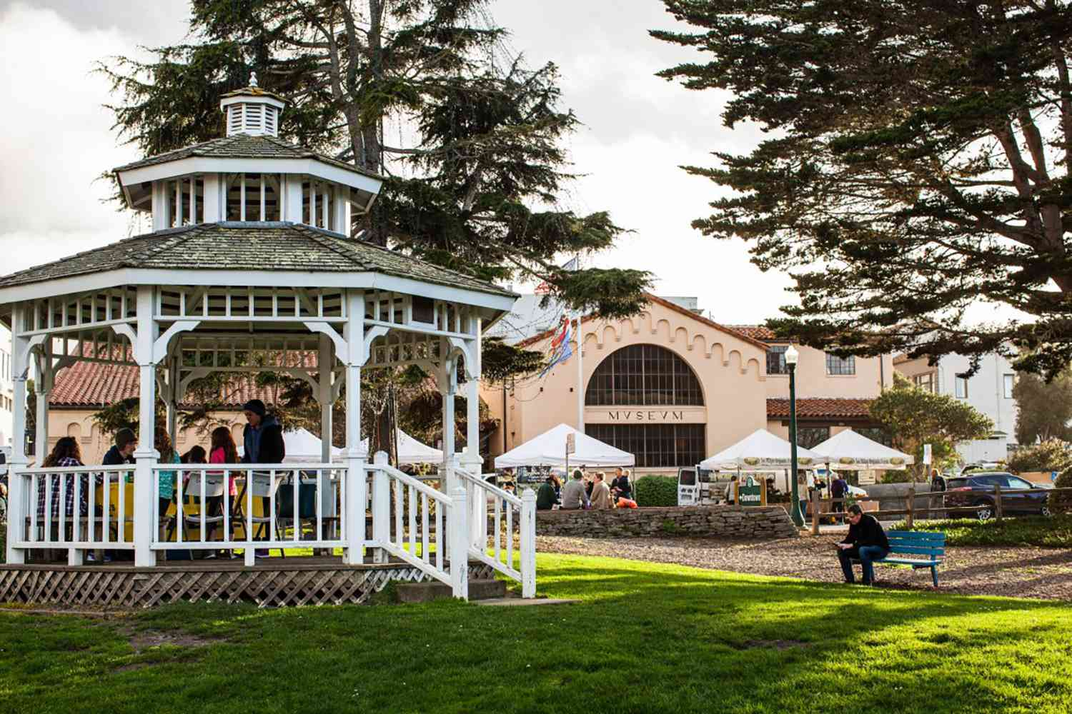A gazebo and tents at the Pacific Grove Certified Farmers' Market