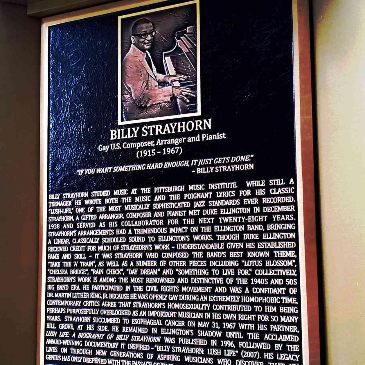 Plaque of Billy Strayhorn on a Legacy Walk
