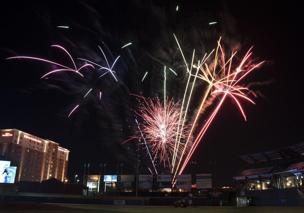 Fireworks show at Bricktown Ballpark