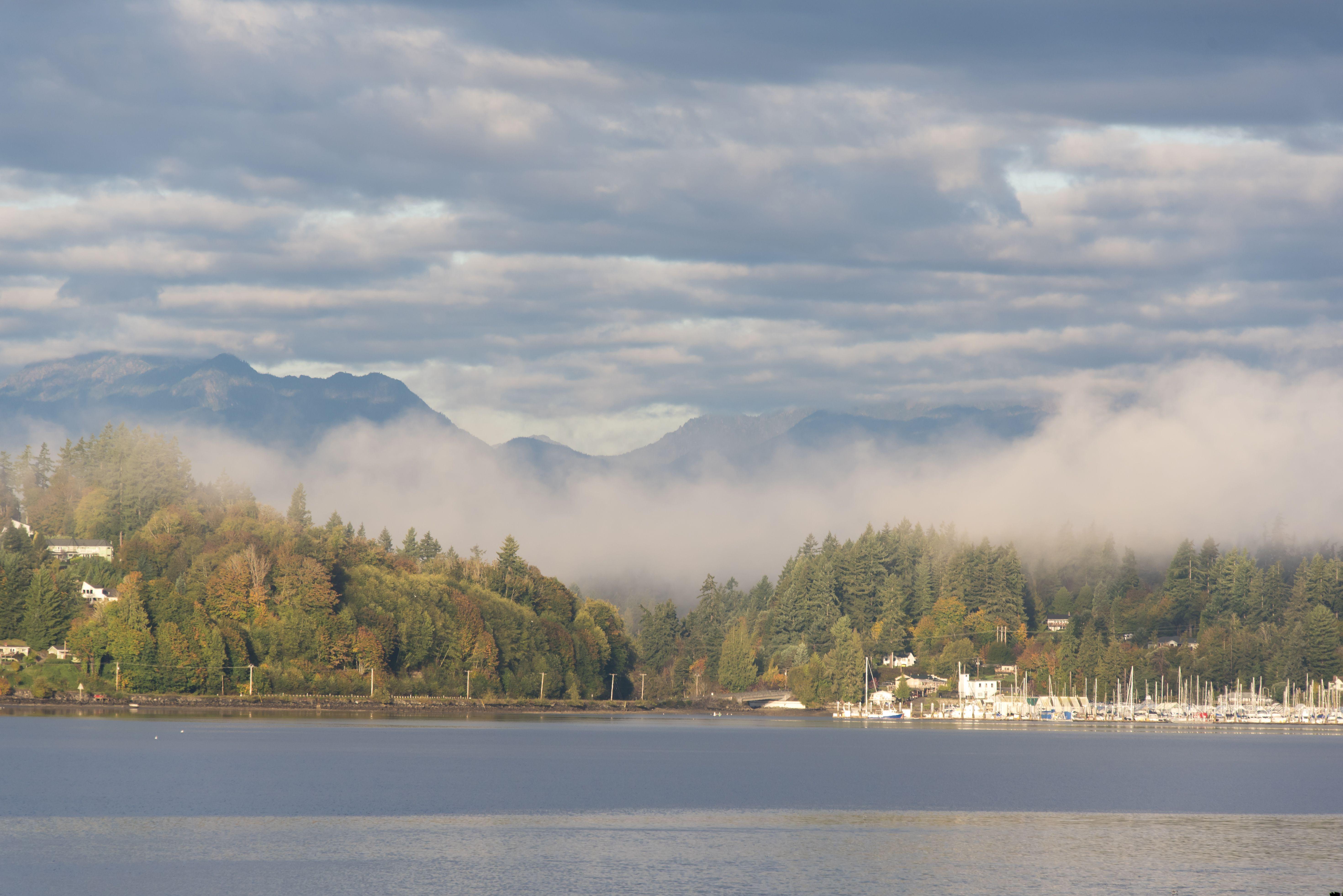 Kitsap Peninsula and Olympic Mountains with mist, Washington State, USA