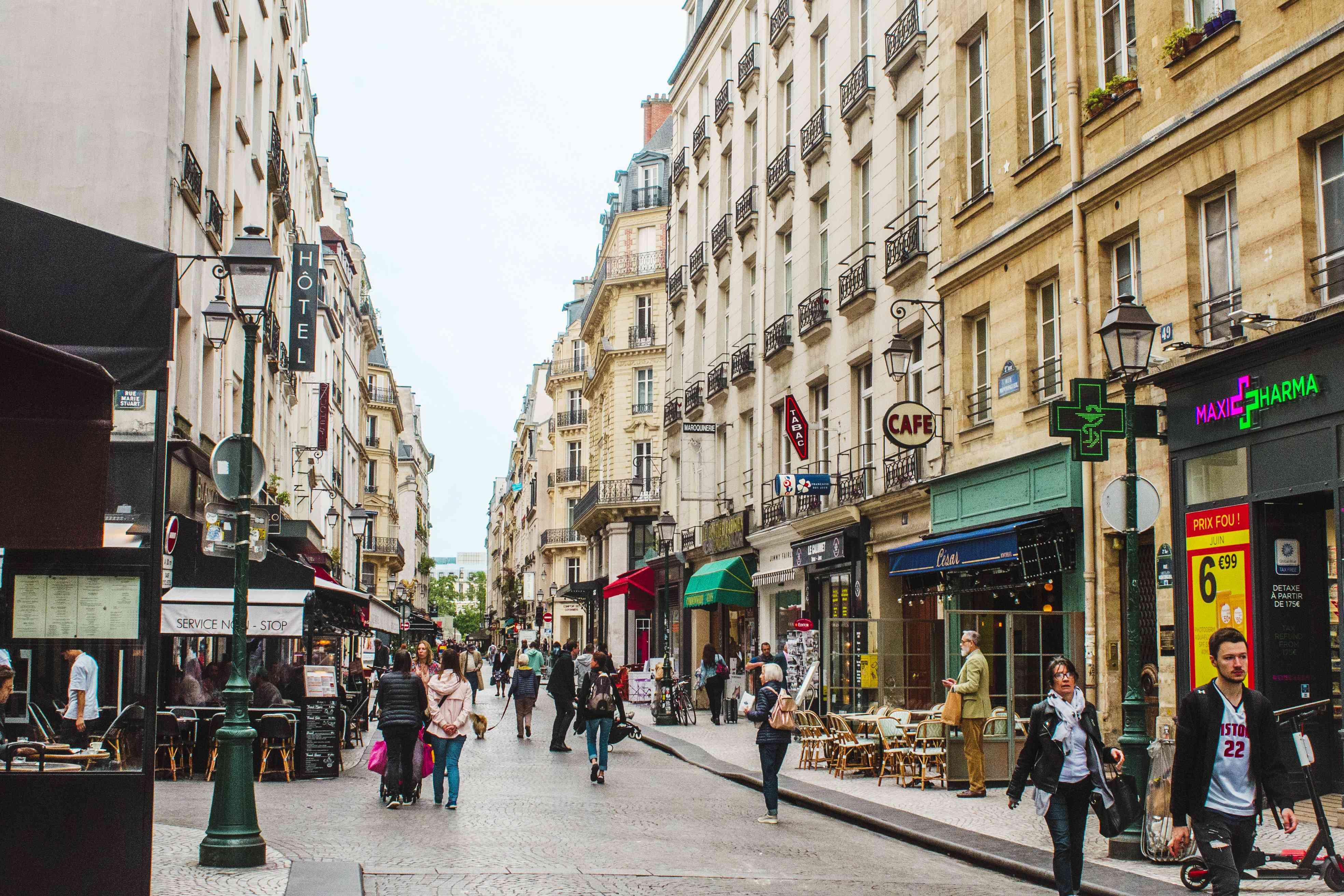 People walking around Rue Montorgueil