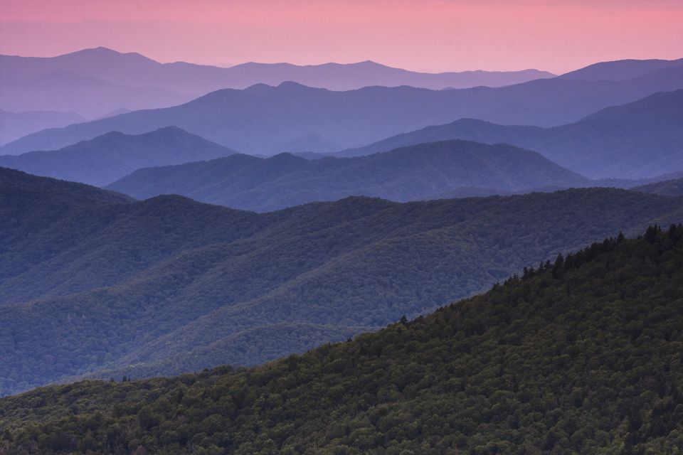 The Great Smoky Mountains in Tennessee at dusk