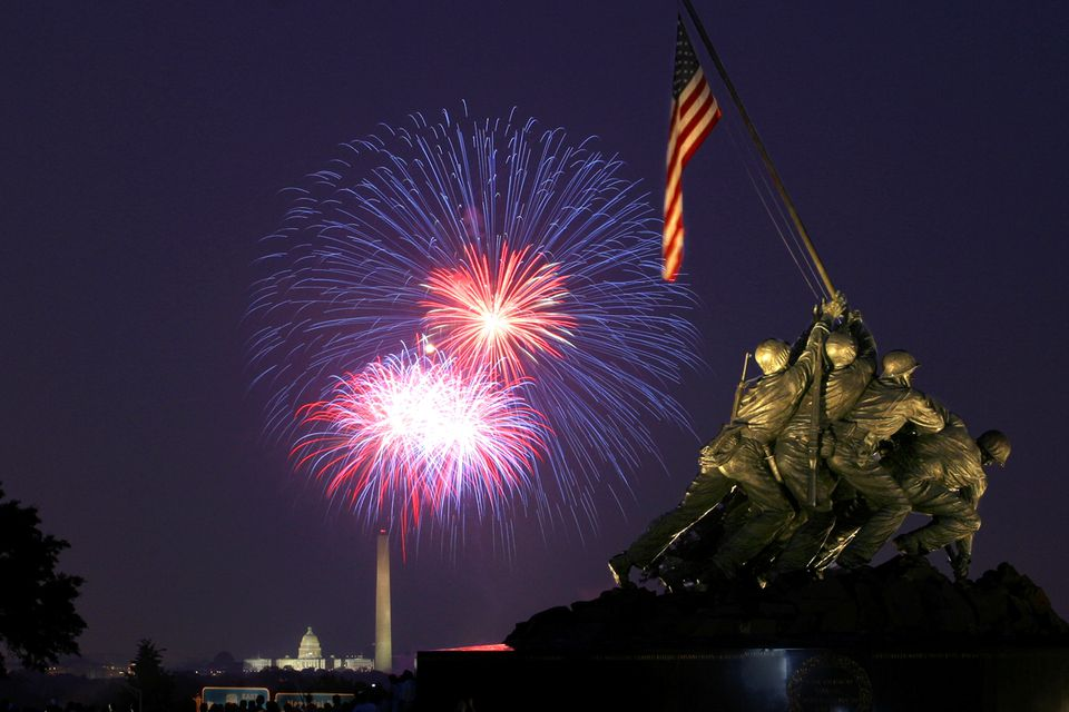 Fireworks over the Capitol building as seen from Arlington, VA