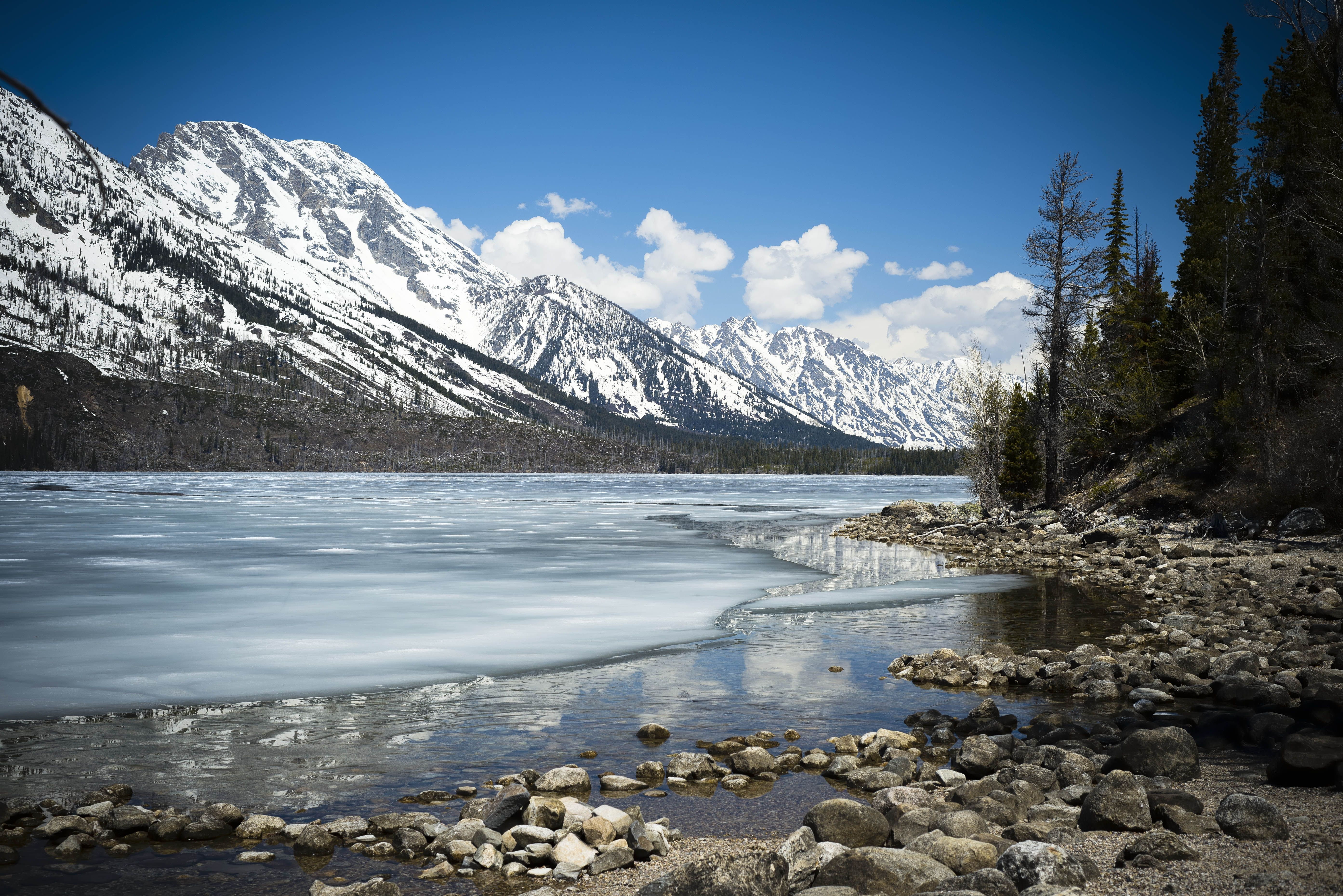 Jenny Lake during the winter in Jackson Hole Wyoming