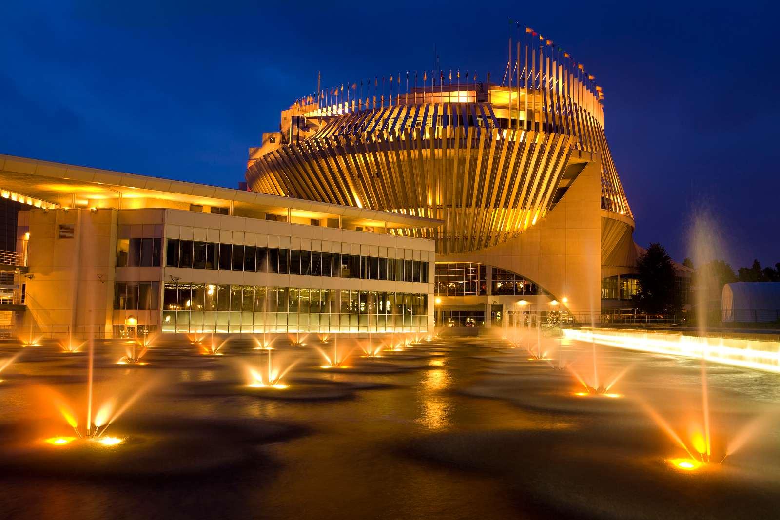 Montreal Casino at night.