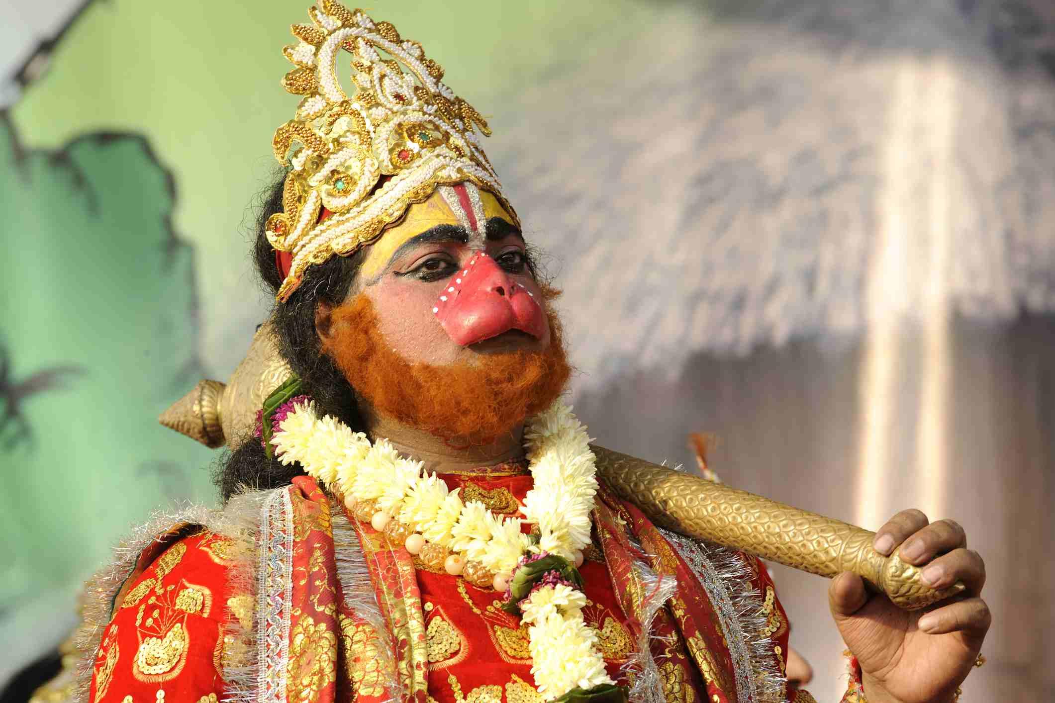 Lord Hanuman in Ramlila play.