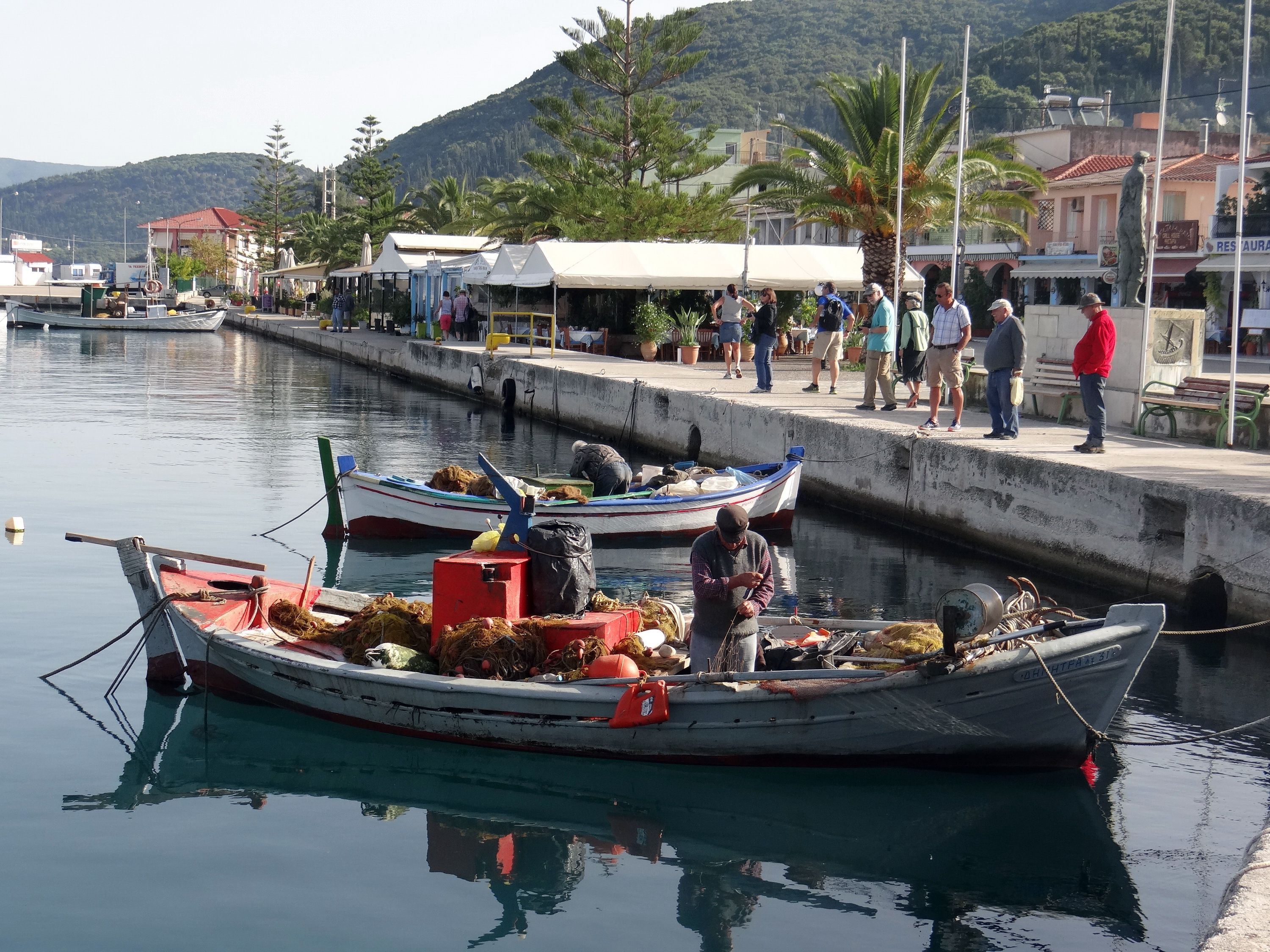 Fisherman at the small town of Sami, Kefalonia in Greece