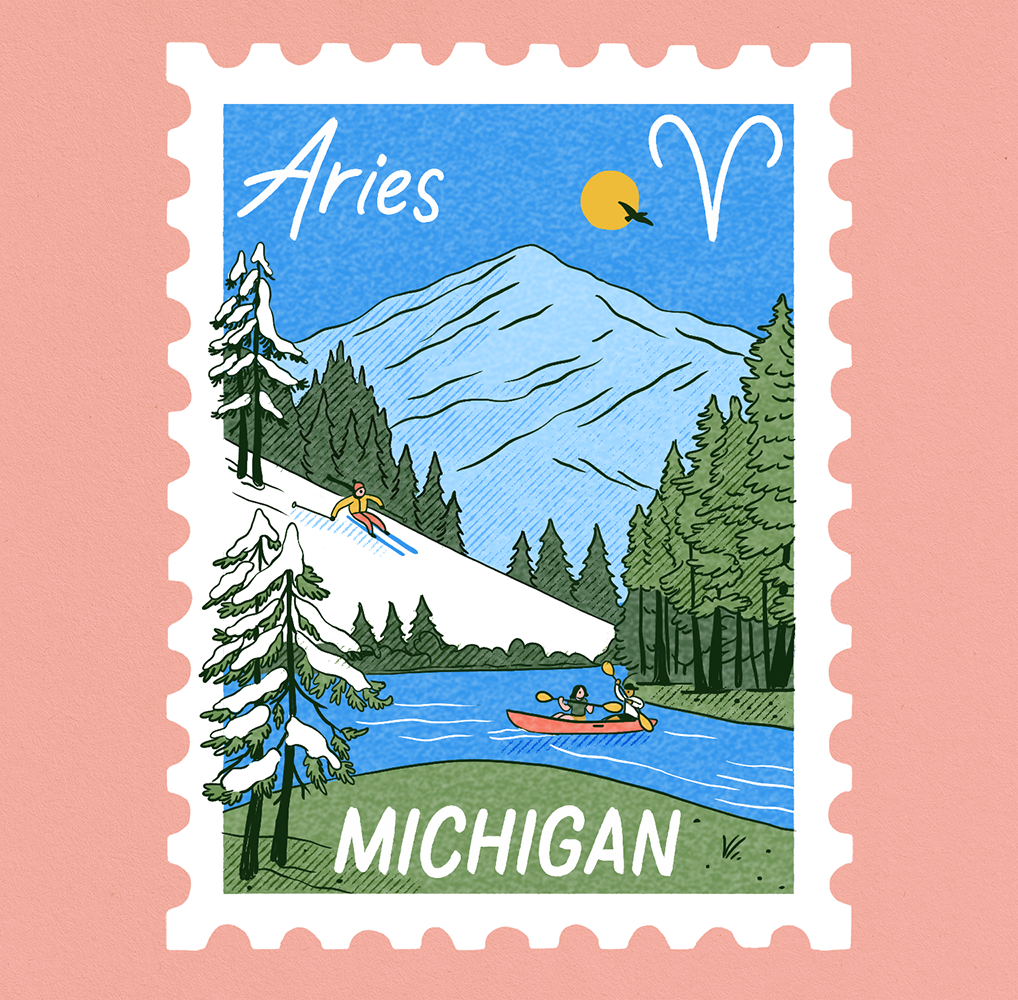 An illustration of a stamp depicting a scene of mountains and a lake in Michigan with Aries written on it.