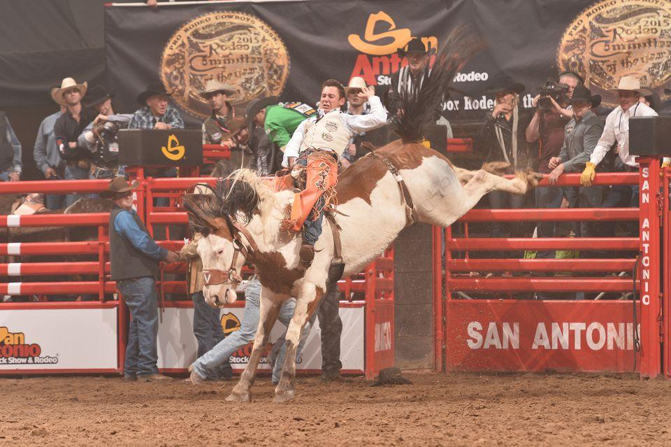 San Antonio Rodeo bronc busting