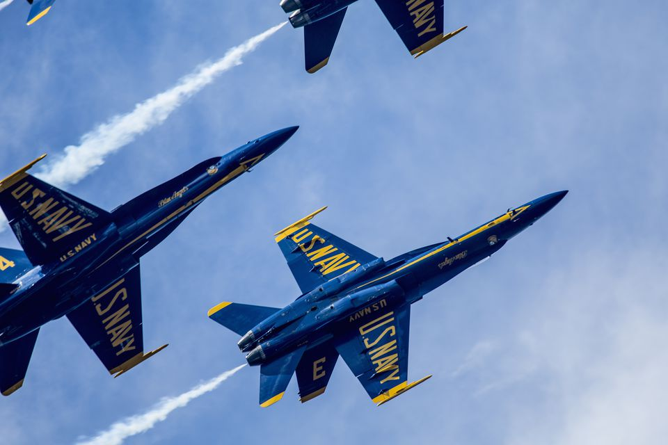 US Navy Blue Angels aerial display team in action