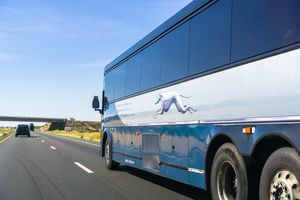 Greyhound bus travelling on the interstate