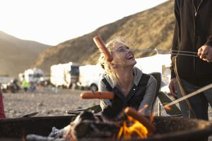 Couple camping on the beach in Malibu