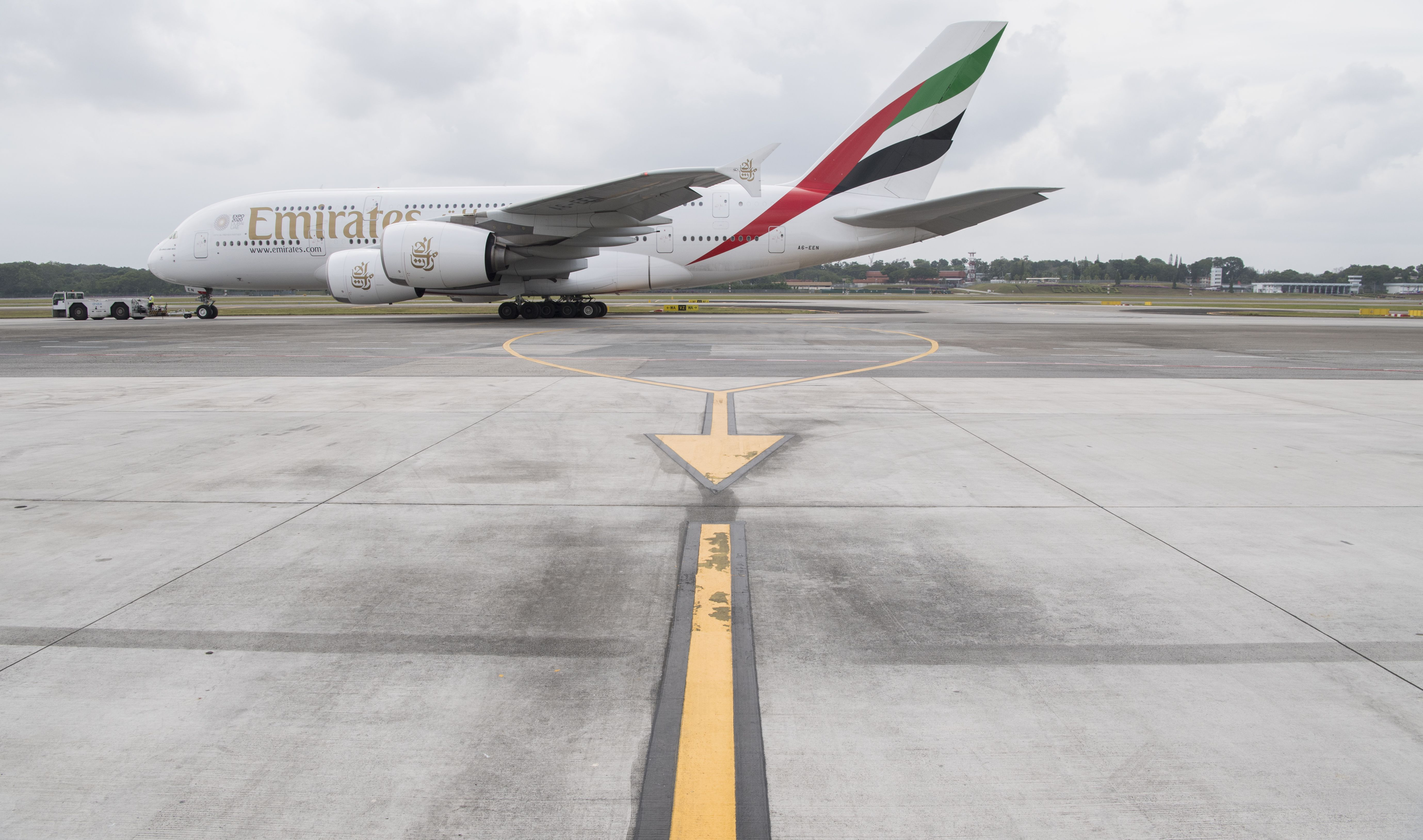 Emirates Airbus A380 on the ground at Singapore's Changi Airport