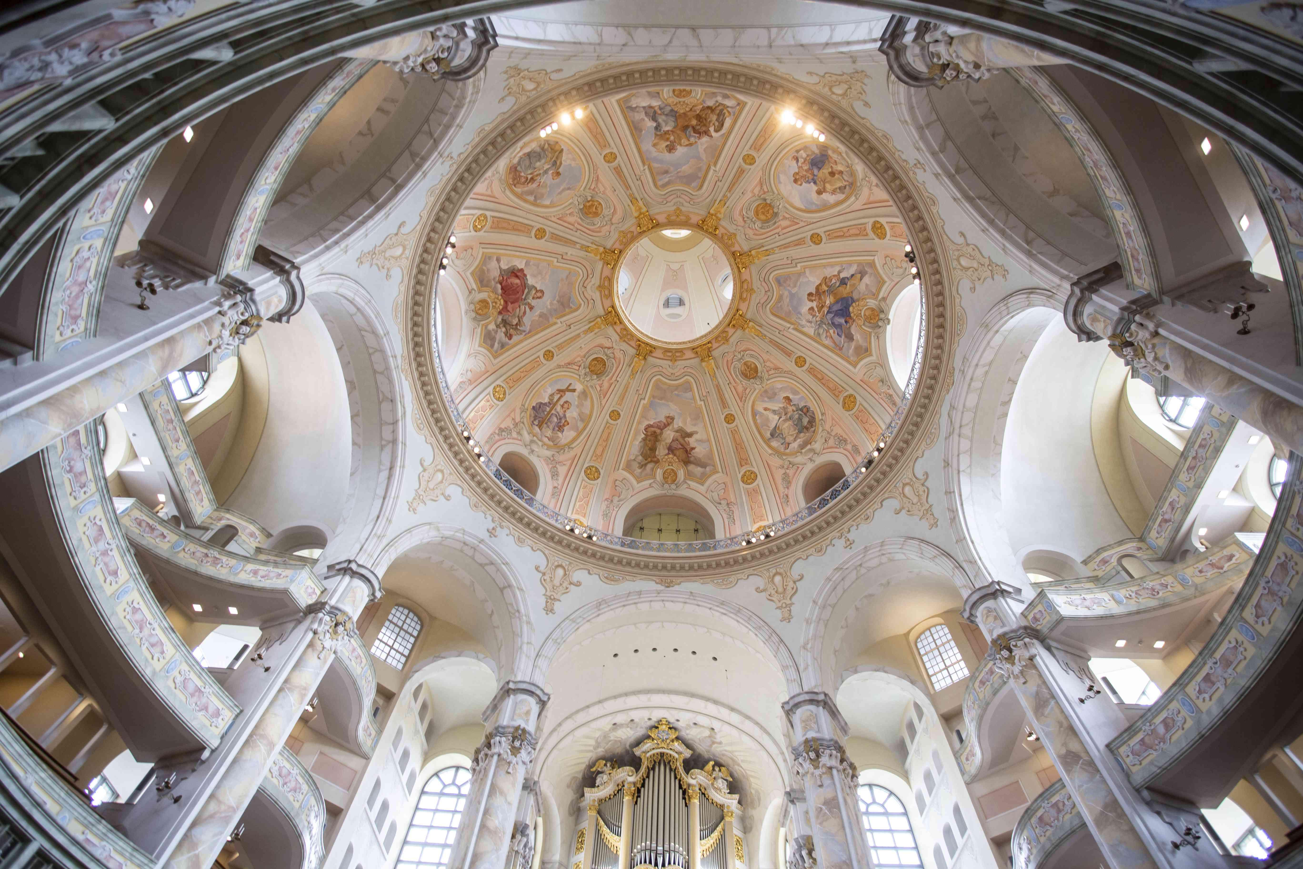Looking up into the dome of The Church of Our Lady