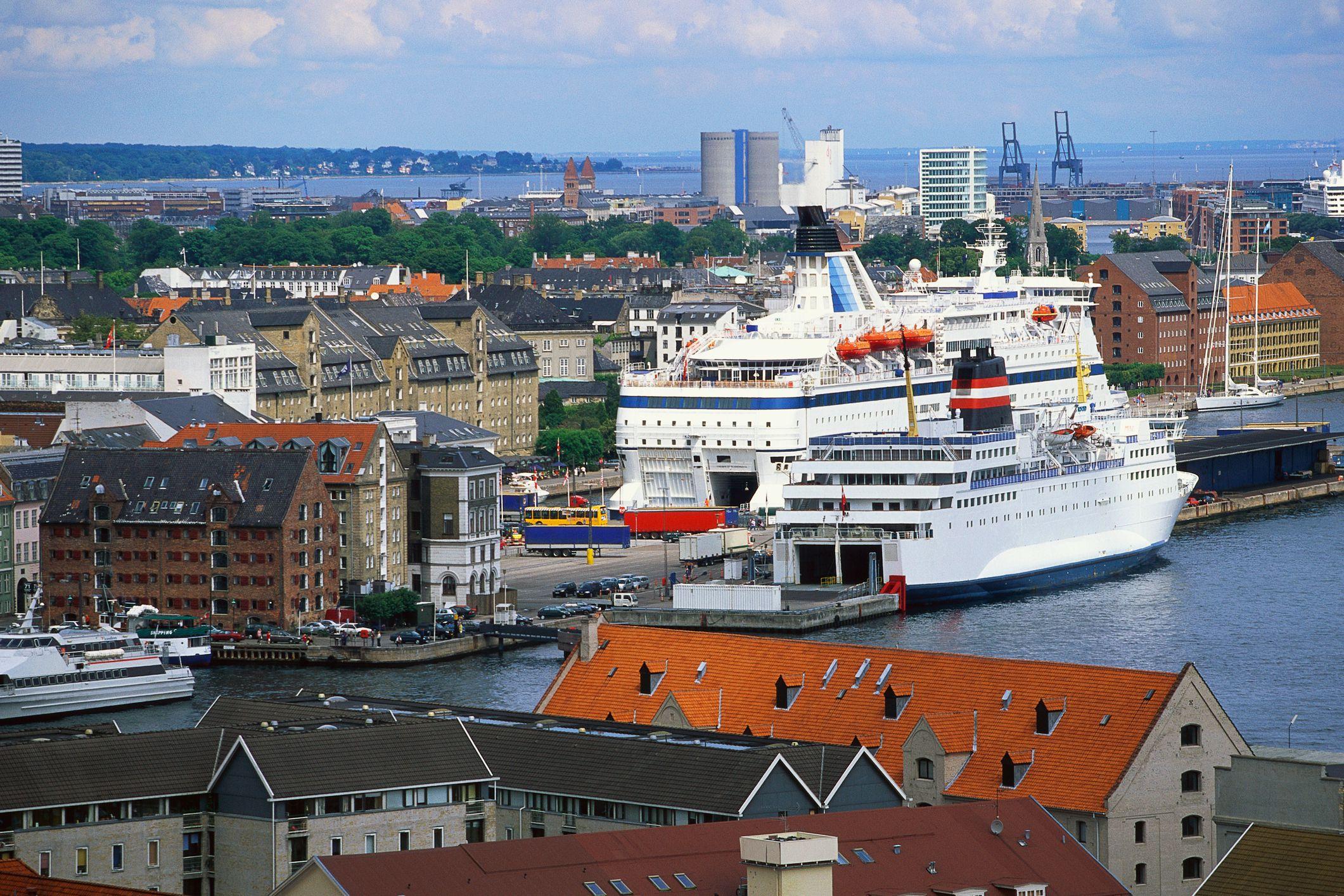 Cruise Ship Moored in Copenhagen Harbor