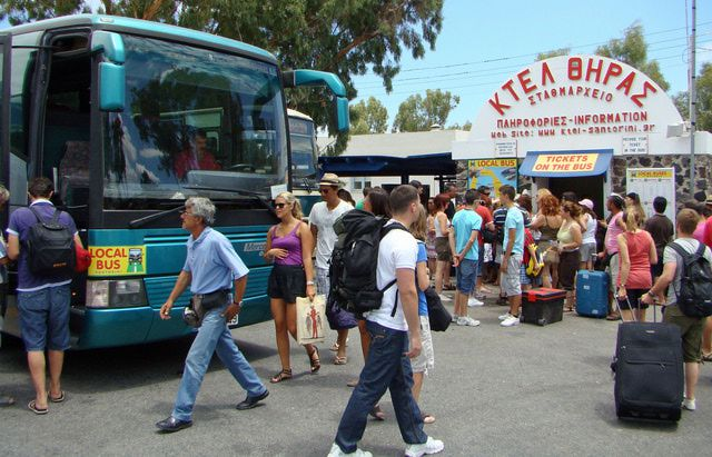 Crowds at a bus station in Greece