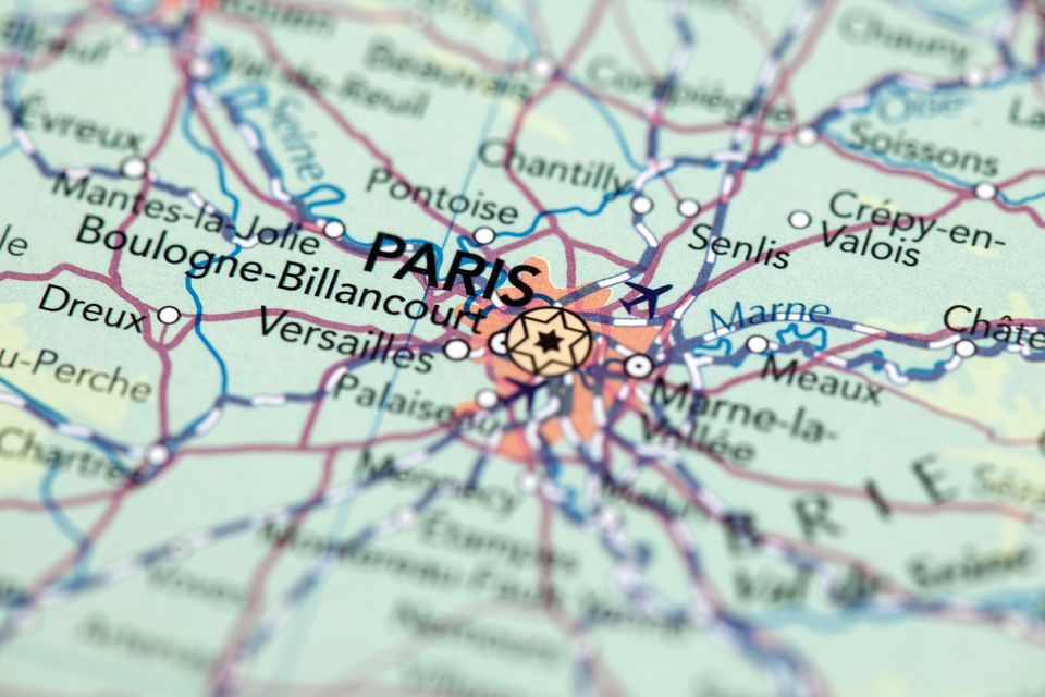 a map of France showing Paris
