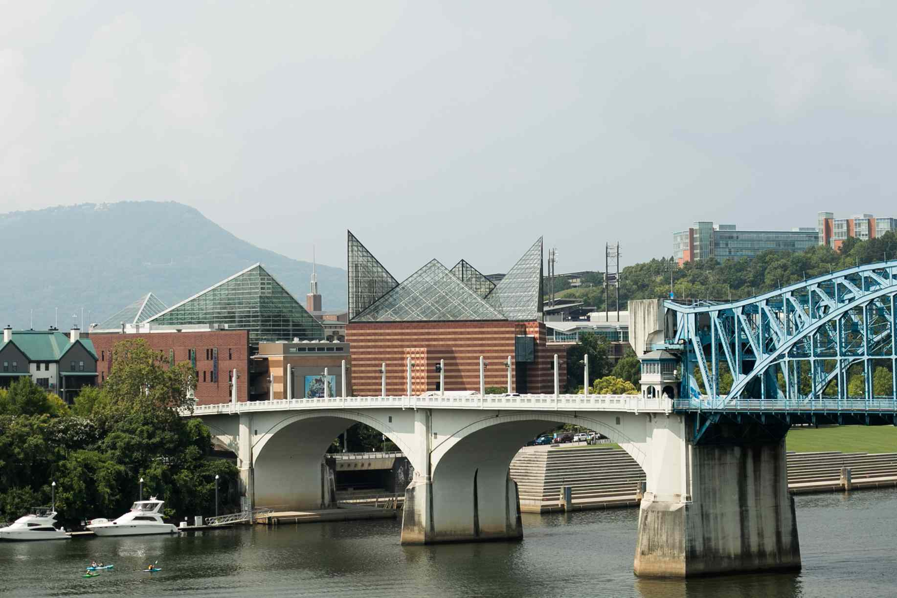 View of the Tennessee Aquarium from on the river