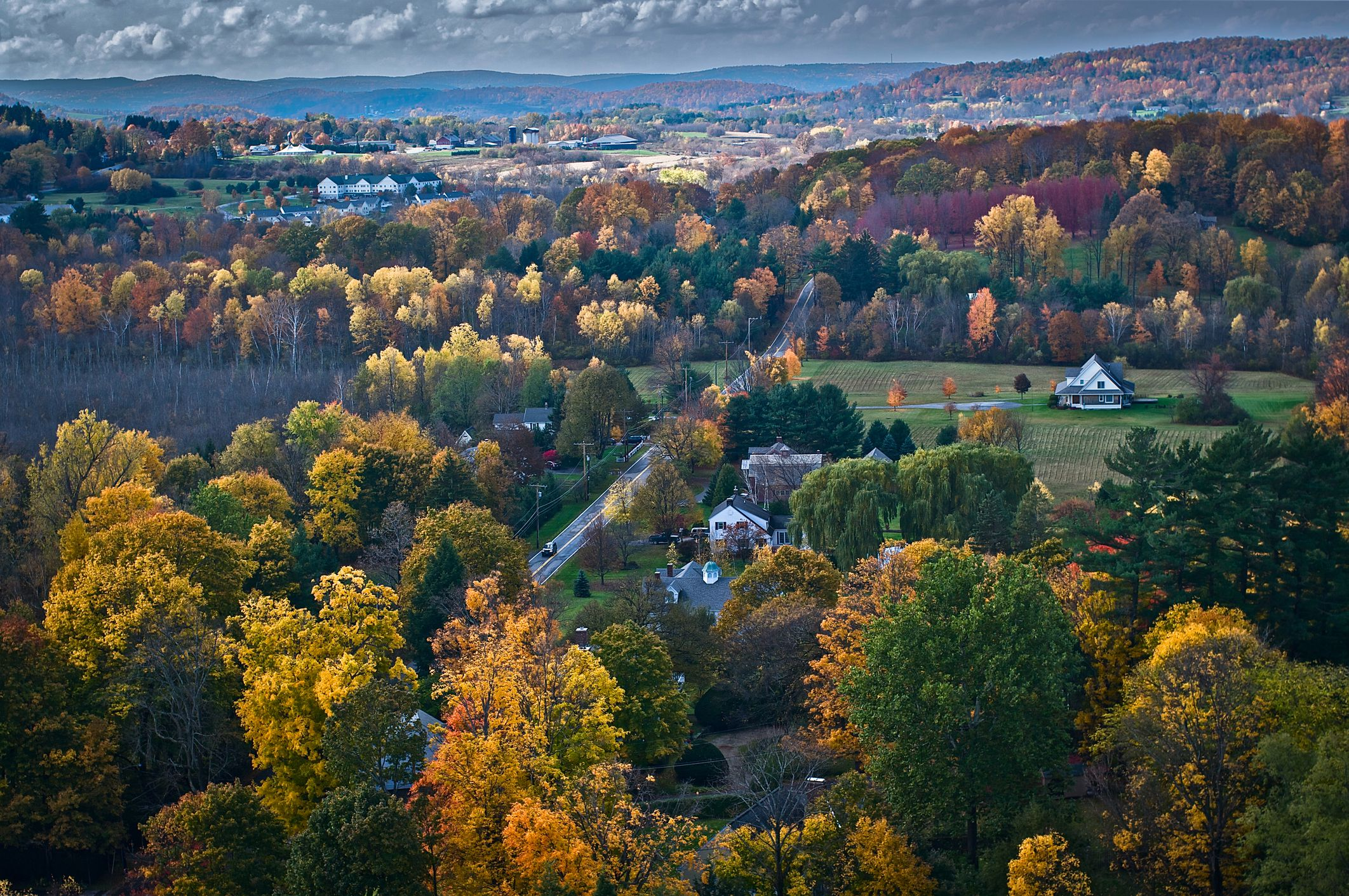 Aerial view of fall foliage near Stowe Vermont