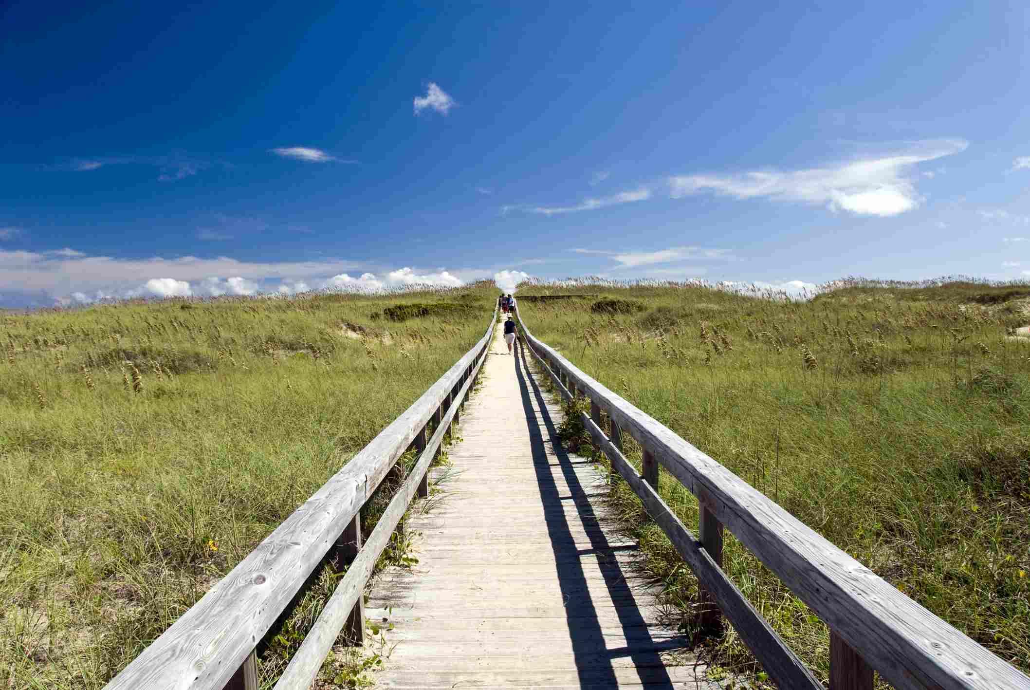 Wooden boardwalk to beach, Hatteras, Outer Banks