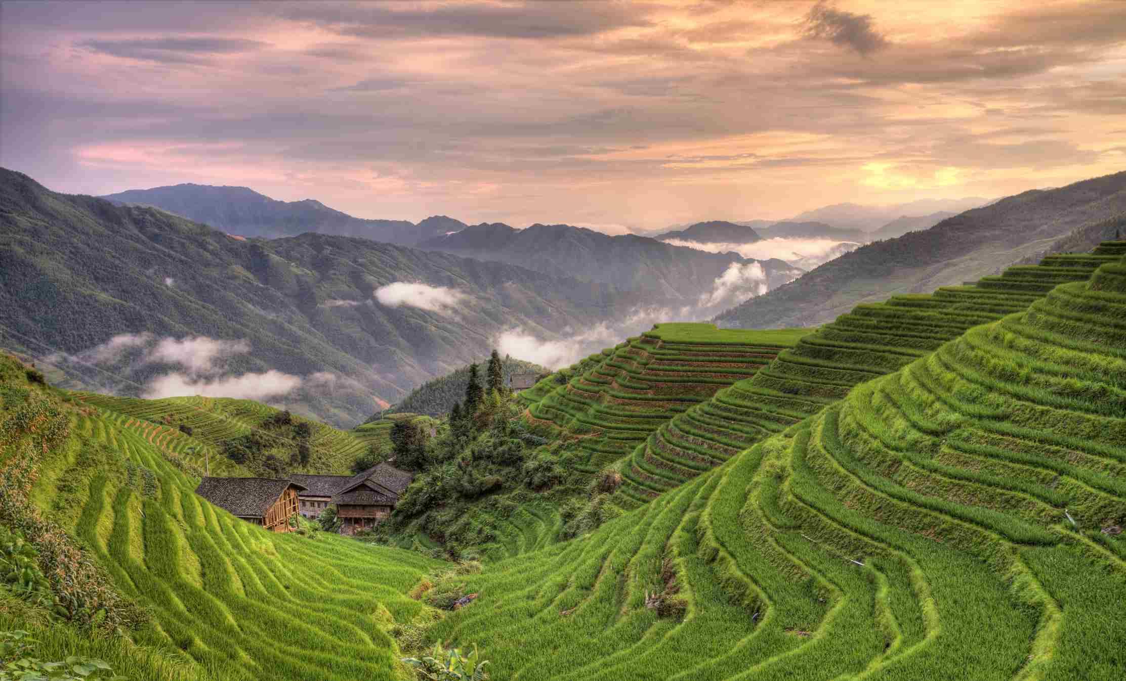 Sunset at pingan village