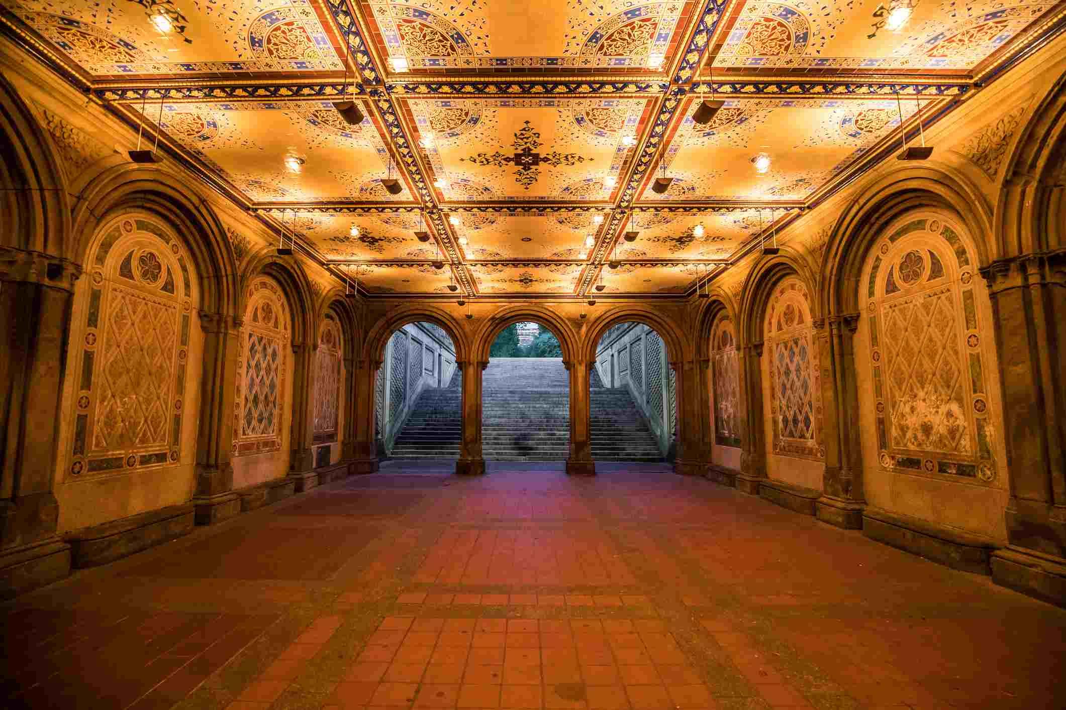 Minton Tiles en Bethesda Arcade en Central Park, Nueva York
