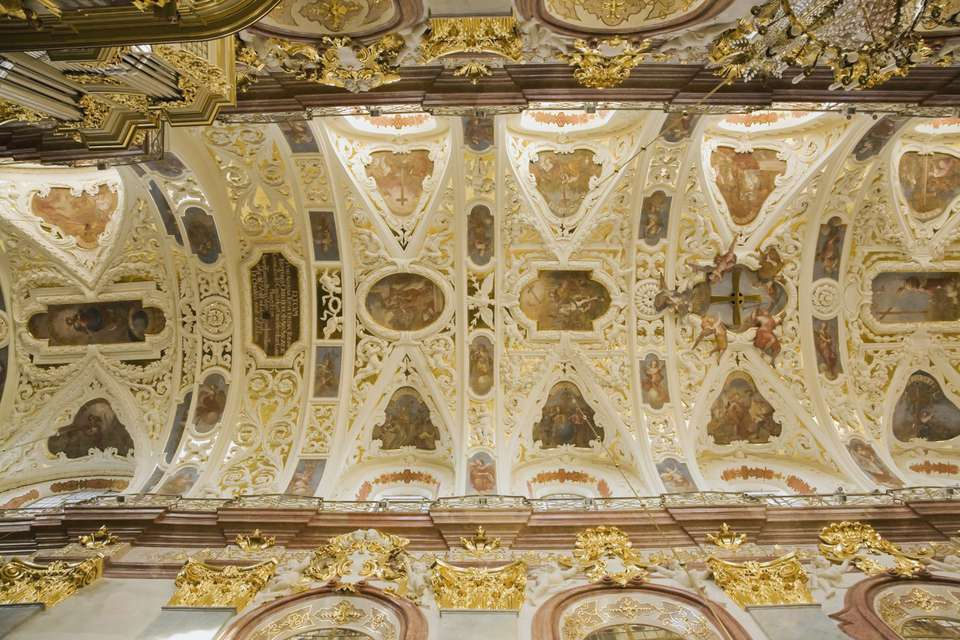 View Of The Ceiling At The Basilica Of The Holy Cross And The Nativity Of The Virgin Mary At The Jasna Gora Monastery