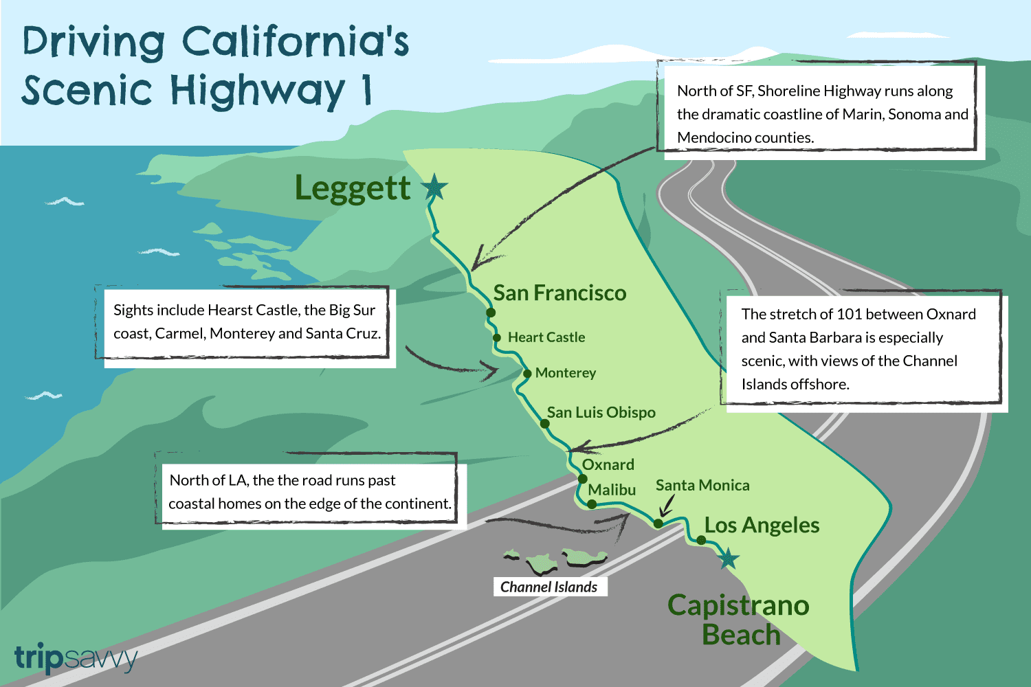 Highway One California Map.California Highway 1 750 Miles Of Spectacular Scenery